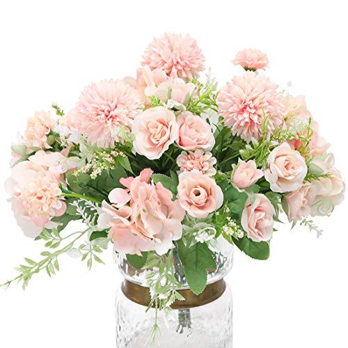 Hawesome 3 piezas de mezcla de ramo de flores de seda, hortensias y rosas artificiales, novia bouquet arreglos florales en la mesa de comedor belleza boda decoracion
