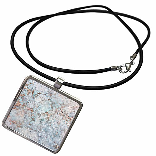 3dRose Anne Marie Baugh - Patterns - White Triple Squares On Aqua and Copper Marble Effect - Necklace With Rectangle Pendant - Marble Pendant Aqua