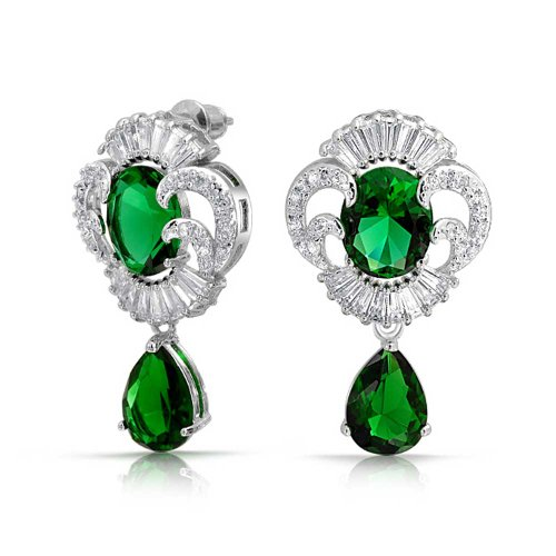 Art Deco Style Green CZ Teardrop Crown Baguette Simulated Emerald Dangle Prom Statement Earrings Silver Plated Brass