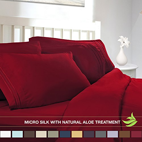 Luxury Bed Sheet Set Soft Micro Silk Sheets King Size