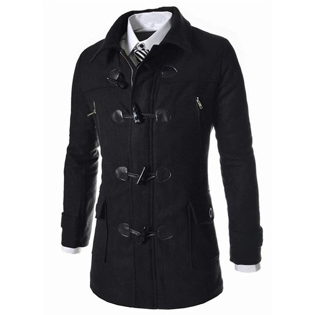 Generic Mens Autumn Thicken Lapel Fleece Jacket Solid Color Front Button Jacket