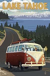 Lake Tahoe - VW Van and Lake (12x18 Art Print, Wall Decor Travel Poster)