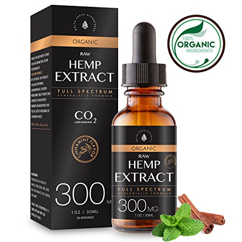 Organic Hemp Extract for Pain & Anxiety Relief (300MG), Cinnamint Flavor, Full Spectrum, Blended with Organic Hemp Seed Oil for Optimal Absorption, Natural Sleeping Aid, Lab Tested, 1oz