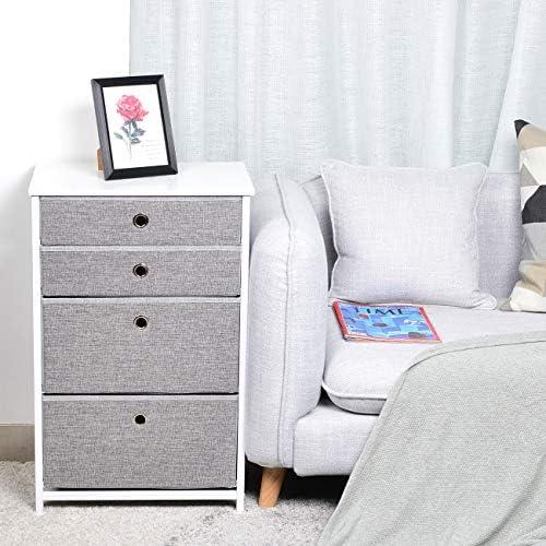 KINWELL 4 Drawers Chest Fabric Storage Organizer Dresser
