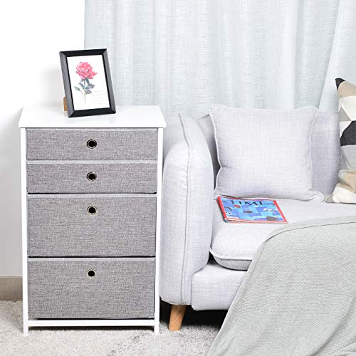 4 Drawers Chest Fabric Storage Organizer Dresser with Sturdy Metal Frame, Linen Front, Wooden Tabletop, MDF Board Drawer Bottom - for Living Room, Bedroom, Hallway, Entryway(Grey) (Linen Chest)