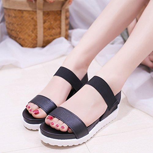 Plates Bout Chaussures Chaussures Mode Été Sandales d'extérieur Noir Rond Juleya Streetwear Décontractée avec Sole Confortables Femme Epaisse IwpYqTO0