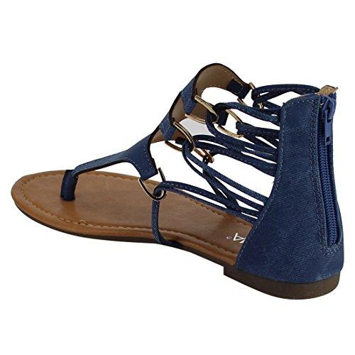 ANNA Womens Sandals Blue FQ01 Zipper Strappy Back Flat Gladiator Thong r4wrqxS