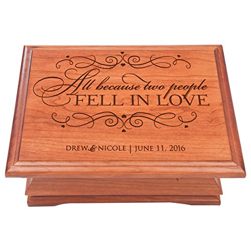 Personalized Jewelry Box for Couple, Personalized Anniversary Gift, Parent Wedding Keepsake Box for Her or Him, All Because Two People Fell In Love by Dayspring