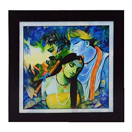 eCraftIndia 'Radha Krishna Love Scene' UV Art Painting (Synthetic Wood, 29 cm x 29 cm, Satin Matt Texture)