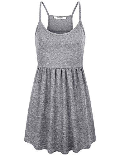 Hibelle Plain Nursing Tank Tops for Women, Adults Petite Ribbed Fitted Empire Waist Racerback Spaghetti Strappy Slimming Camisole Performance Dry Fit Moisture Wicking Cozy Tunic Grey -