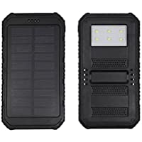 24000mAh Solar Power Bank Solar Charger Waterproof Portable External Battery USB Charger Built in LED light for iPhone, iPad, Android, Samsung (Black)