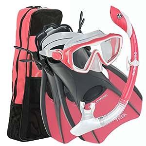 U.S. Divers Diva 1 LX/Island Dry LX/Trek/Travel Bag Combo, Coral, Small (5-8)