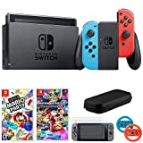 Nintendo Switch 32 GB Console w/Neon Blue and Red Joy-Con (HACSKABAA) + Gaming & Accessories Bundle Includes, Mario Kart 8 Deluxe, Super Mario Party, 2-Pack Steering Wheel + More