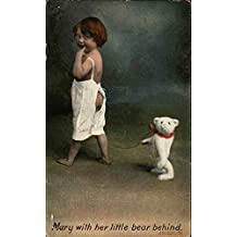 Mary With Her Little Bear Behind Children Original Vintage Postcard