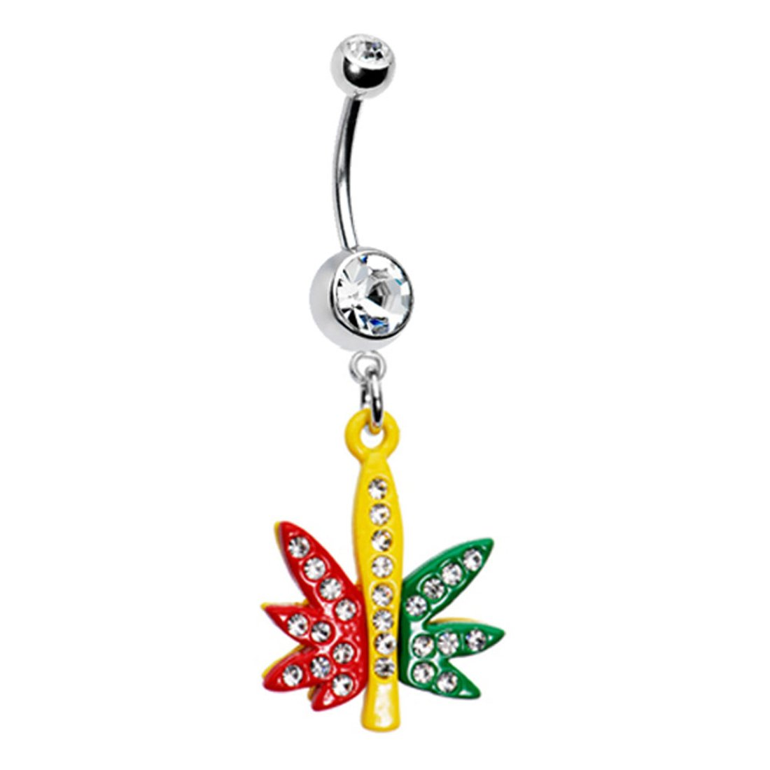 BodyJ4You Belly Button Rings Pot Leaf Dangle 14G Belly Button Ring 1.6mm Comes with Belly Retainer BN1048