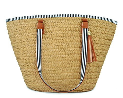 (AGNETA Women's Simple and Fashionable Tassel Tote One-Shoulder Straw Woven Shoulder Bag (Brown))