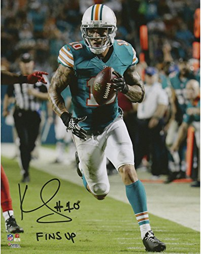 "Kenny Stills Miami Dolphins Autographed 8"" x 10"" Throwback Jersey Running Photograph with""Fins Up!"" Inscription - Fanatics Authentic Certified"