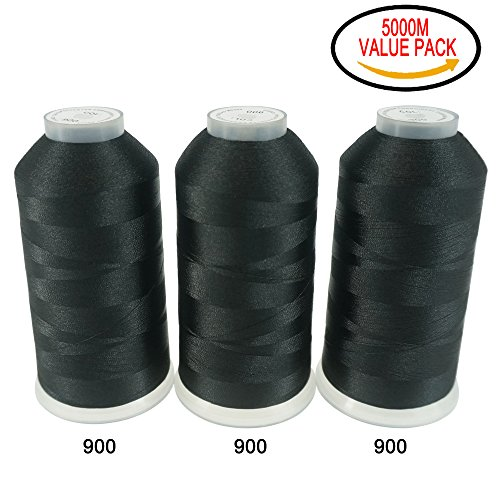 New brothreads Various Assorted Color Packs of Polyester Embroidery Machine Thread Huge Spool 5000M for All Embroidery Machines - 3xBLACK