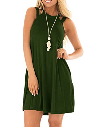 ee2f8e794 EZBELLE Women's Sleeveless Long Tunic Dress Round Neck Loose Plain Casual  Swing T-Shirt Dresses