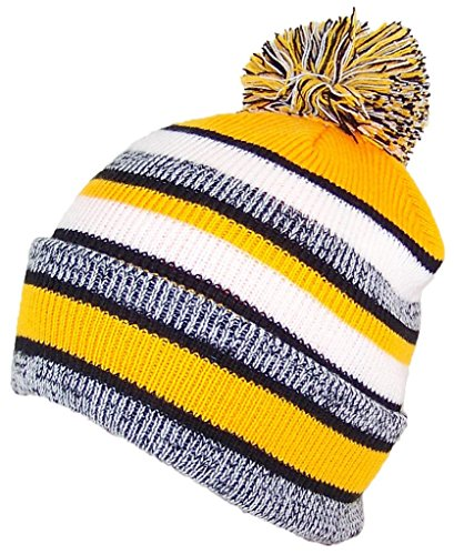 lity Striped Variegated Cuffed Beanie W/Large Pom (L/XL) - Black/Gold ()