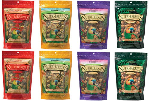 LAFEBER'S, Flavored Nutri-Berries – Parrot Variety – 10 Ounce with Bonus Sealing Clips (Pack of 8)