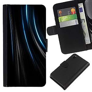 KLONGSHOP // Tirón de la caja Cartera de cuero con ranuras para tarjetas - Líneas Terciopelo Negro Tela Moda - Sony Xperia Z3 D6603 //