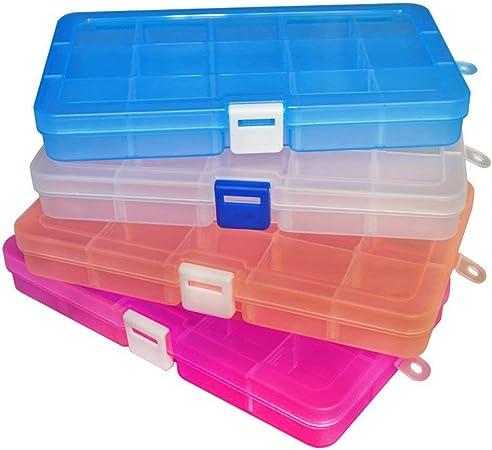 gotyou 4 Piezas Caja de Almacenamiento de Plastico,Caja Compartimentos de Plástico (15 Compartimentos),Caja de Almacenamiento de Joyas,Caja de Celosía para Pendientes Anillos: Amazon.es: Hogar