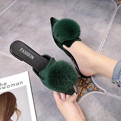 Hatop Femmes Mode Solide Couleur Cheveux Boule Bout Pointu Sandales À Talons Plats Pantoufle Vert