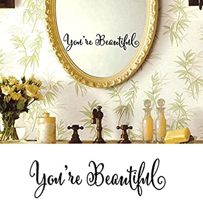 """ You are Beautiful "" ?ords Wall Sticker, Oksale Window Mirror PVC Wallpaper Home Decor Removable Applique Papers Mural"