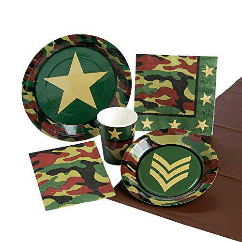 Camouflage Party Supplies for Army Military and Camo Parties - Plates, Napkins, Cups, and Tablecloth Set