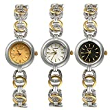Women's Japan Quartz Skeleton Bracelet Band Watch Small Face Slim Stainless Steel Wrist Watch (3PCS)