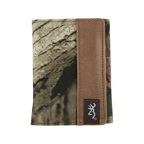 Browning Men's Tri-Fold Camo Wallet (Mossy Oak Infinity Camo, Rugged Cotton Canvas Fabric, Distressed Full-Grain Leather, Closed Size: 4.25