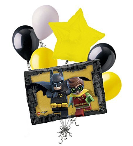 7pc Lego Batman Robin Balloon Bouquet Party Decoration Happy Birthday Super -