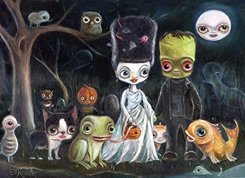 Frankenstein Wedding Halloween Wall Art Print - Pop Surrealism