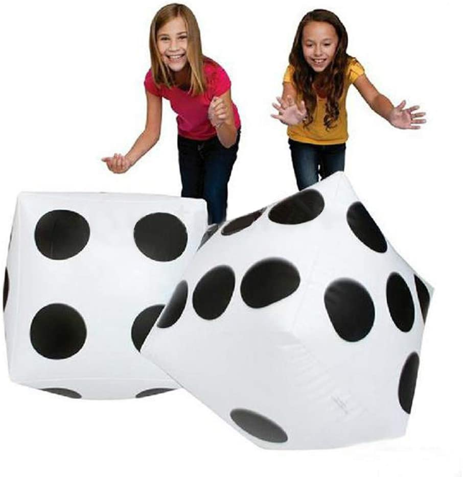 Voberry 11 Jumbo Inflatable Dice,11 Inch White and Black Giant Dice for Indoor and Outdoor Broad Game,for Pool Party Picnic Free Floor Games