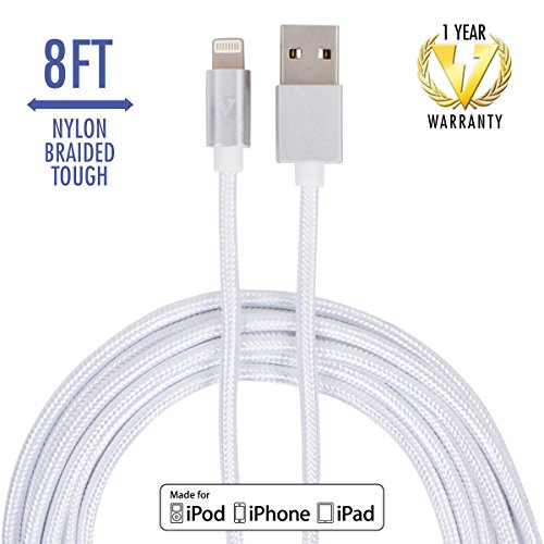 vCharged 8 FT Long iPhone Charger Nylon Braided USB Lightning Cable for iPhone X, 8 / 8 Plus, iPad & More