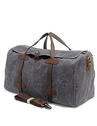 Oversized Waterproof Canvas Genuine Leather Travel Weekend Luggage Bag