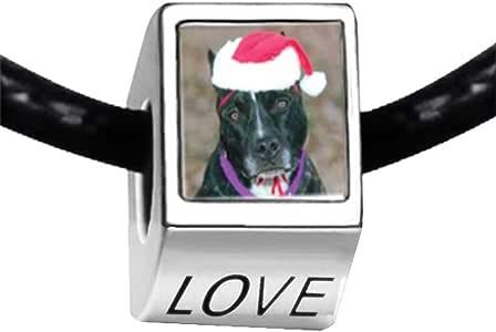 Chicforest Silver Plated Christmas Dog Photo LOVE Charm Beads Fits Pandora Biagi Troll Chamilia Kay's Beads Charms