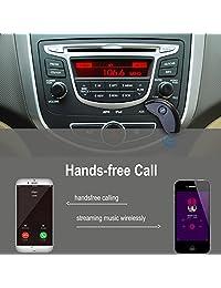 AGPtek Protable coche AUX Adaptador Bluetooth, receptor Bluetooth para Mp3 Streaming de música sistema de altavoz de sonido adaptador de Audio, Manos libres, Bluetooth, Kits de coche con receptor inalámbrico de AUX Jack