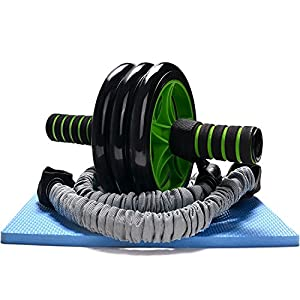 3-In-1 AB Wheel Roller Kit - Odoland AB Roller Pro with Resistant Band,Knee Pad,Anti-Slip Handles and Storage Bag - Perfect Abdominal Core Carver Fitness Workout for Abs from Odoland