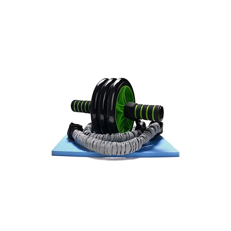 Odoland 3 in 1 AB Wheel Roller Kit AB Roller Pro with Resistant Band,Knee Pad,Anti Slip Handles and Storage Bag Perfect Abdominal Core Carver Fitness Workout for Abs