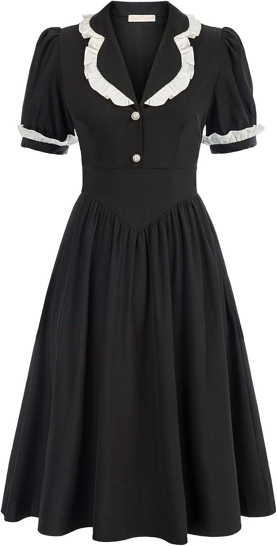 1940s Dresses | 40s Dress, Swing Dress, Tea Dresses Belle Poque 1940s Vintage Dress Cherry Puff Sleeve Midi Tea Dress for Party  AT vintagedancer.com