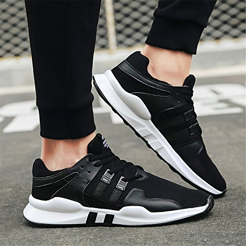 FZDX Men's Sport Shoes Casual Running Breathable Lace-up Shoes Lightweight for Men Black 008 tkwRhL