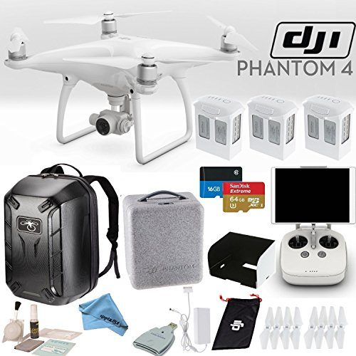 Price comparison product image DJI Phantom 4 Quadcopter Bundle: Includes 3 Phantom 4 Batteries,  Phantom 4 Backpack,  Remote Monitor Hood (For Tablets),  SanDisk 64GB Extreme MicroSD Card and more...