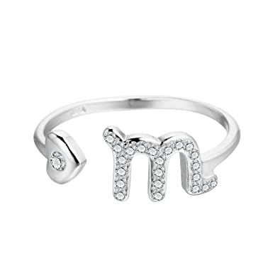 Qiandi 925 Sterling Silver M Letter Zircon Taurus Star Constellation Zodiac Ring Girl Birthday Gift