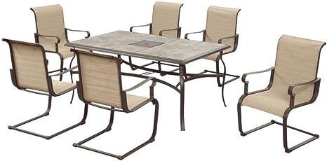 Hampton Bay Belleville Outdoor Decorative 7 Piece Patio Dining Set Seats 6 Amazon Ca Patio Lawn Garden
