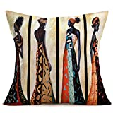 """living room themes Hopyeer Ethnic Style African BeautifulLady Decor Throw Pillow Covers Cases Decorative Africa Woman Print Outdoor Cushion Home Decoration 18""""x18"""" for Sofa Couch Living Room Bed (B-Lady)"""