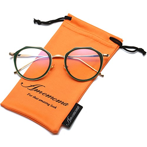 Amomoma Vintage Optical Eyewear Non-prescription Eyeglasses Frame with Clear Lenses AM5016 With Green Frame/Gold - Eye Glasses Green