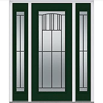 National Door Company Madison Decorative Glass Full Lite Steel Prehung  In Swing Entry Door With