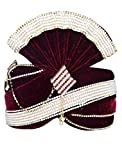INMONARCH Mens Alluring Velvet Turban Pagari Safa Groom Hats TU1066 23-Inch Maroon